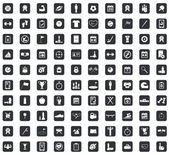 100 Sport icons set in black squares on white background