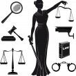 Постер, плакат: Court Set of icons on a theme the judicial law Themis justice lady justice