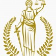 Постер, плакат: Lady justice Greek goddess Themis Equality fair trial Law Laurel wreath