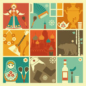 Squares with traditional symbols of Russia