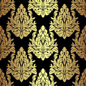 Golden floral seamless Pattern on black is presented