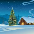 Постер, плакат: Forest house with the Christmas tree