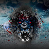 Illustration of Angry wolf head