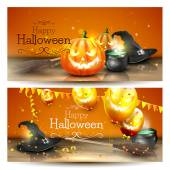 Vector set of two Halloween banners