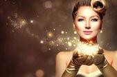 Retro woman with magic stars