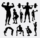 Body builder male and female sport silhouette Good use for symbol logo web icon mascot sign avatar or any design you want Easy to use