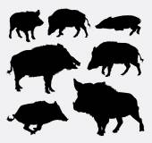 Wild boar animal silhouettes Good use for symbol web icons logo mascot or any design you want Easy to use