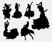 Női flamenco táncos sziluettek