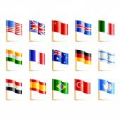 World countries flags icons detailed vector set