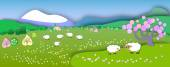 The beginning of springConcept change of seasonsGlobe concept showing a peaceful and idyllic lifestylePaper cut styleFlat Landscape Illustration with smooth vector shadowsSpring is coming