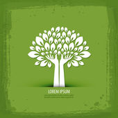 Abstract tree on a green background vector illustration