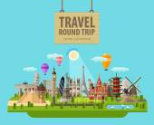 Sights of the world together in a group vector flat illustration