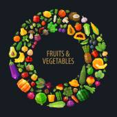 Round frame from vegetables and fruits vector flat illustration