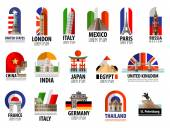 Collection of colored icons attractions of the world vector flat illustration