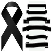 Mourning concept with black awareness ribbon and different banners