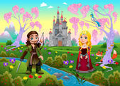 Medieval couple in a landscape with castle Cartoon vector illustration