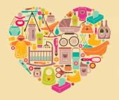 Icons of products for babies in the form of a heart Clothes food cosmetics and equipment for newborn care
