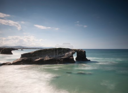 Постер, плакат: Playa de Las Catedrales Cathedrals beach , холст на подрамнике