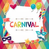 Sfondo festa con oggetti e adesivi di Carnevale