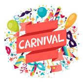 Sfondo festosa celebrazione con oggetti e icone del Carnevale