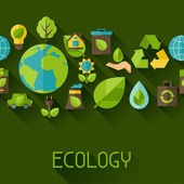 Ecology seamless pattern with environment green energy and pollution icons