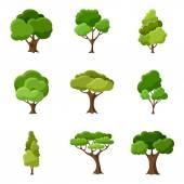 Insieme degli alberi stilizzati astratti. Illustrazione naturale