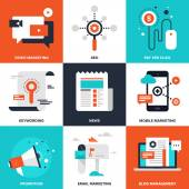 Vector set of flat digital marketing icons Icon pack includes following themes - pay per click video marketing blog management email marketing promotion news keywording SEO mobile marketing