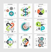 Vector illustration of business infographics on following themes - development investment the process collaboration target social engagement time management good idea the road to success