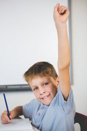 schoolboy raising his hand in classroom