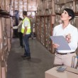 Постер, плакат: Warehouse manager checking inventory