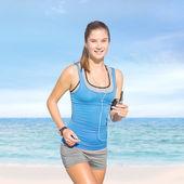 Složený obraz fit ženy, jogging