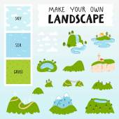 Make your own landscape with 3 seamless patterns 13 mountains lakes and clouds vector illustrations