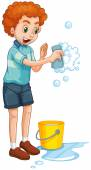 Man with yellow bucket and cleaning sponge illustration