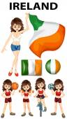 Ireland flag and woman athlete illustration