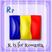 Flashcard of alphabet R is for Romania