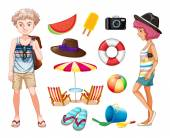 Hipsters and beach objects illustration