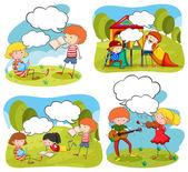 Négy jelenetben csinálás tevékenységek a parkban a gyermekek