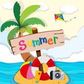 Ocean scene with toys on island illustration