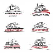 Set of six icons with truck and trailer