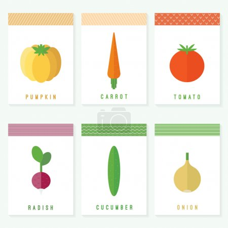 Vegetables. Flat vector set of cards