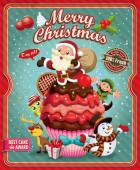 Vintage Christmas poster design with Santa Claus cupcake Snowman elf & deer