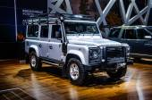 MOSCOW, RUSSIA - AUG 2012: LAND ROVER DEFENDER 110 presented as world premiere at the 16th MIAS Moscow International Automobile Salon on August 30, 2012 in Moscow, Russia
