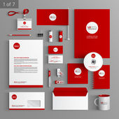 Corporate identity Editable corporate identity template Red stationery template design with round element Documentation for business