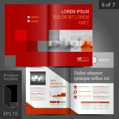 Red business vector brochure template design with geometric elements