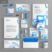 Corporate identity Editable corporate identity template White stationery template design with blue square elements Documentation for business