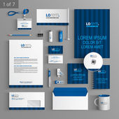 Corporate identity Editable corporate identity template Blue stationery template design with vertical lines Documentation for business