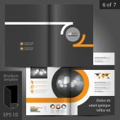 Black vector brochure template design with orange round elements of structure