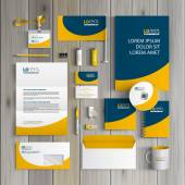 Blue classic corporate identity template design with yellow wave Business stationery