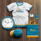 Blue promotional souvenirs design for corporate identity with orange lines Stationery set