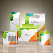 White creative promotional package design for corporate identity with color shapes Stationery set